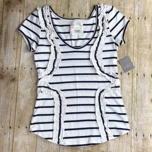 Anthropologie Navy Striped Ruffle Top